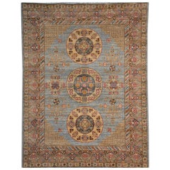 Khotan Style Rug Hand Knotted Contemporary Light Blue Wool Area Carpet