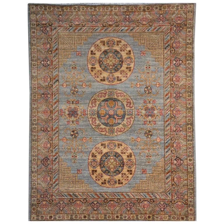 Khotan Style Rug Hand Knotted Contemporary Light Blue Wool Area Carpet For Sale