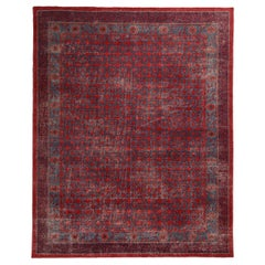 Khotan Velvet Red and Blue Wool Rug from the Homage Collection by Rug & Kilim