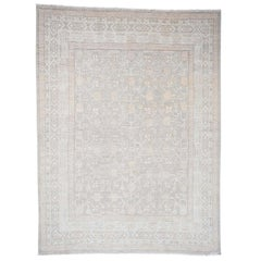Khotan with Pomegranate Design Silver Wash Hand Knotted Oriental Rug