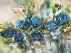 Blue Rose l, Painting, Oil on Canvas