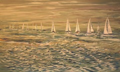 Boats Lined, Painting, Acrylic on Canvas