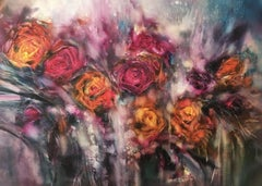 Fantasy roses, Painting, Oil on Canvas
