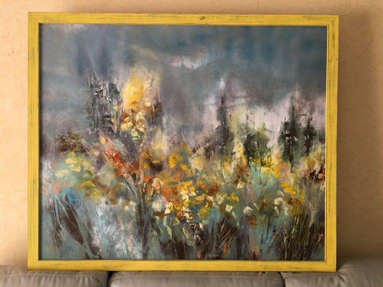 Wild Forsythia, Painting, Oil on Canvas - Gray Abstract Painting by Khrystyna Kozyuk