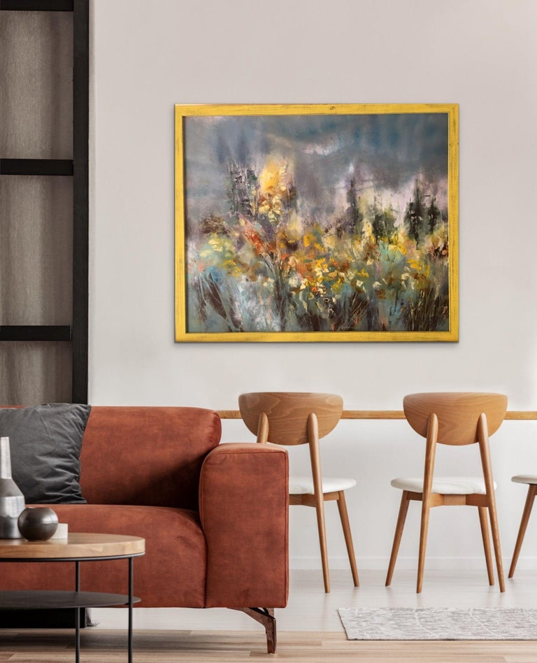 Wild Forsythia, Painting, Oil on Canvas For Sale 1