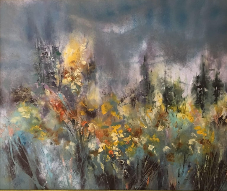 Khrystyna Kozyuk Abstract Painting - Wild Forsythia, Painting, Oil on Canvas