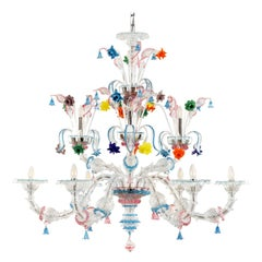 Chandelier 6+3 arms Clear Murano Glass with multicolour Details by Multiforme