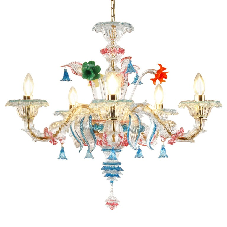 Other Rezzonico chandelier 5 arms clear Murano glass, multicolor details by Multiforme For Sale