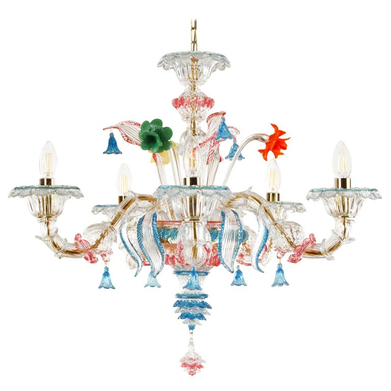 Rezzonico chandelier 5 arms clear Murano glass, multicolor details by Multiforme For Sale