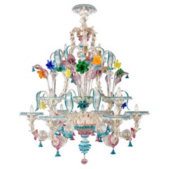 Kia Ora Chandelier 6+3+3 arms Murano Clear Glass multicolour details Multiforme