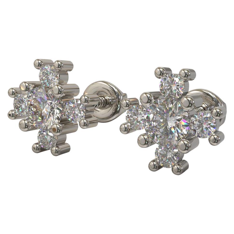 Kian Design 0.36 Carat Round Diamond Earring Studs in 18 Carat White Gold