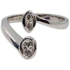 Kian Design 0.42 Carat Two Diamonds Engagement Ring in 18 Carat White Gold