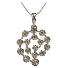 Kian Design 0.56 Carat Round Brilliant Cut Brown Diamond Necklace in Platinum