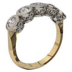 Kian Design 0.60 Carat Diamond Bridal Ring in Platinum and 18 Carat Yellow Gold