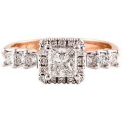 Kian Design 0.72 Carat Princess Cut Diamond Engagement Ring in 18 Carat Gold