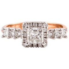 Kian Design 0.72 Carat Princess Cut Halo Diamond 18 Carat Gold Engagement Ring