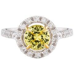 Kian Design 1.33 Carat Yellow Sapphire Diamond 18 Carat Two-Tone Gold Ring
