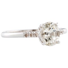 Kian Design 1.54 Carat Oval White Sapphire and Diamond Ring 18 Carat White Gold