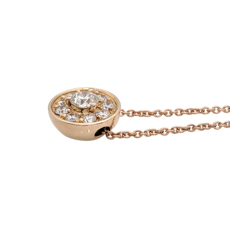 Art Deco Kian Design 18 Carat Rose Gold Round Brilliant cut Halo Diamond Necklace For Sale