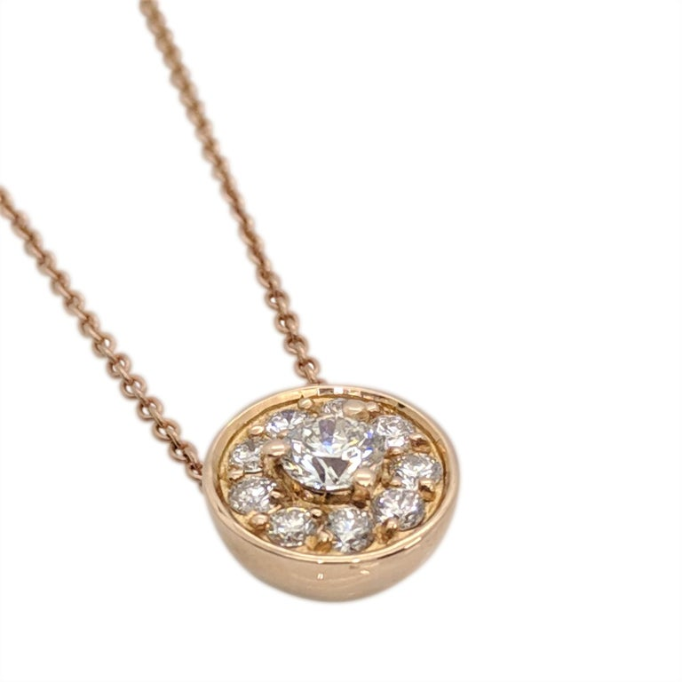 Round Cut Kian Design 18 Carat Rose Gold Round Brilliant cut Halo Diamond Necklace For Sale