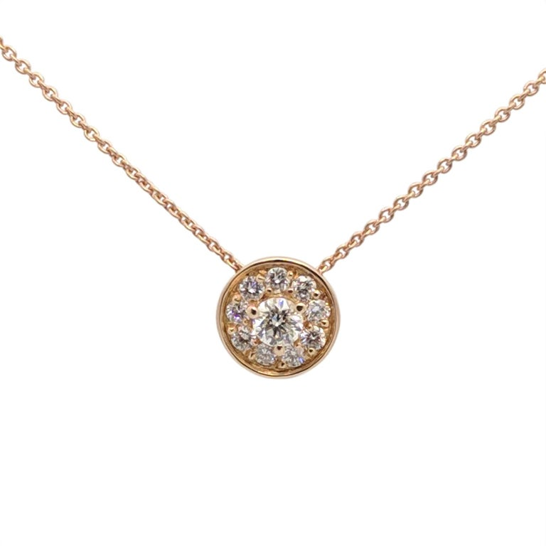Kian Design 18 Carat Rose Gold Round Brilliant cut Halo Diamond Necklace In New Condition For Sale In South Perth, AU