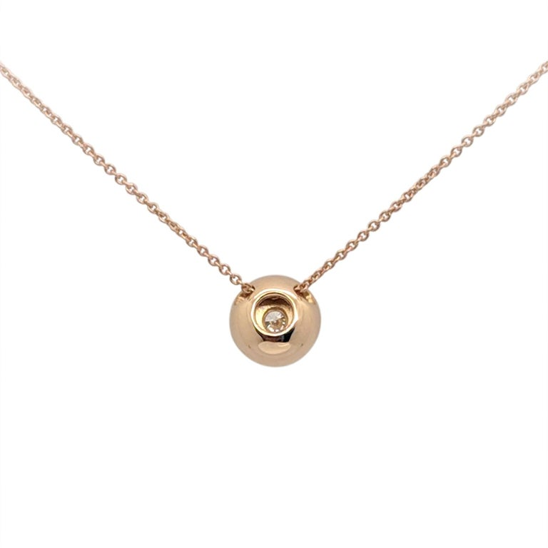 Women's Kian Design 18 Carat Rose Gold Round Brilliant cut Halo Diamond Necklace For Sale