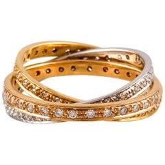 Kian Design 18 Carat Three-Tone Gold Russian Bridal Diamond Ring