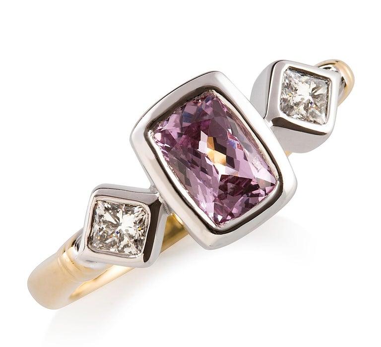 Artist Kian Design 18 Carat Two-Tone Cushion Cut Pink Sapphire and Diamond Ring For Sale