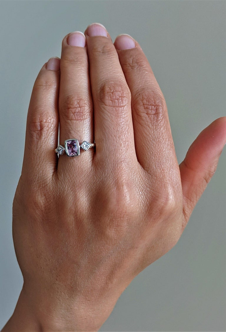 Kian Design 18 Carat Two-Tone Cushion Cut Pink Sapphire and Diamond Ring In New Condition For Sale In South Perth, AU