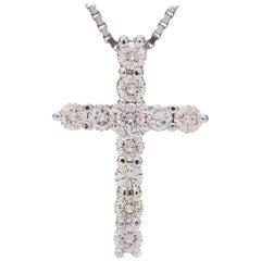 Kian Design 18 Carat White Gold Diamond Cross Necklace