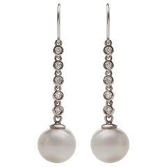 Kian Design, 18 Carat White Gold Pearl and Diamond Earrings