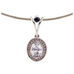 Kian Design 18 Carat White Gold White-Pink Ceylon Sapphire and Diamond Necklace