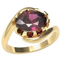 Kian Design 18 Carat Yellow Gold 2.05 Carat Rhodolite and Diamonds Cocktail Ring