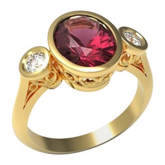 Kian Design 18 Carat Yellow Gold 2.53 Carat Rhodolite and Diamonds Cocktail Ring
