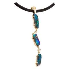 Kian Design 18 Carat Yellow Gold Boulder Opal Pendant and Neoprene Necklace