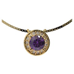 Kian Design 18 Carat Yellow Gold Cluster Round Amethyst and Diamond Necklace
