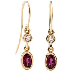 Kian Design 18 Carat Yellow Gold Oval Rhodolite Garnet and Diamond Earrings
