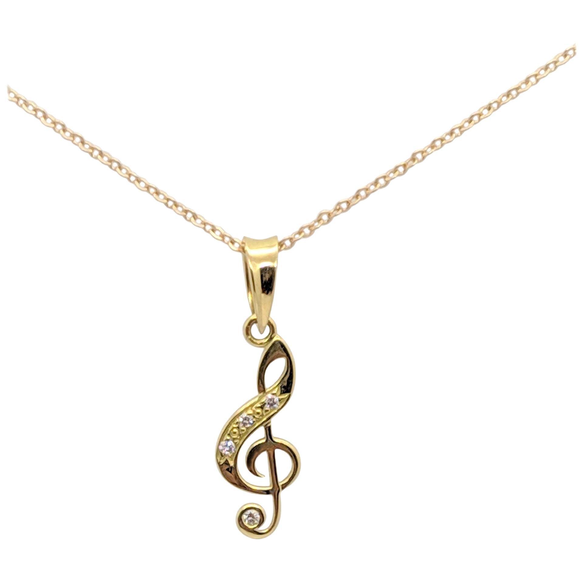 Kian Design 18 Carat Yellow Gold Sol Key Round Brilliant Cut Diamond Necklace