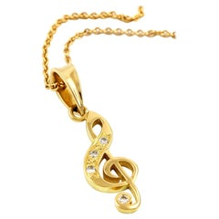 Kian Design 18 Carat Yellow Gold Sol Key Round Brilliant Cut Diamond Pendant