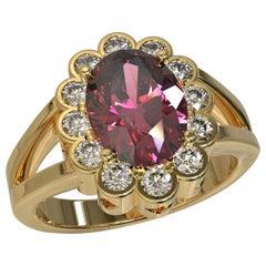 Kian Design 2.03 Carat Oval Rhodolite Diamonds Cocktail Ring in 18 Carat Gold