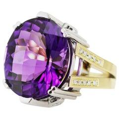Kian Design 21.77 Carat Oval Amethyst and Diamond 18 Carat Two-Tone Gold Ring