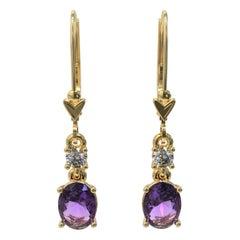 Kian Design 2.2 Carat Oval Amethyst Round Diamond Earrings in 18 Carat Gold