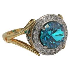 Kian Design 2.60 Carat Apatite and Diamond Cocktail Ring in Platinum