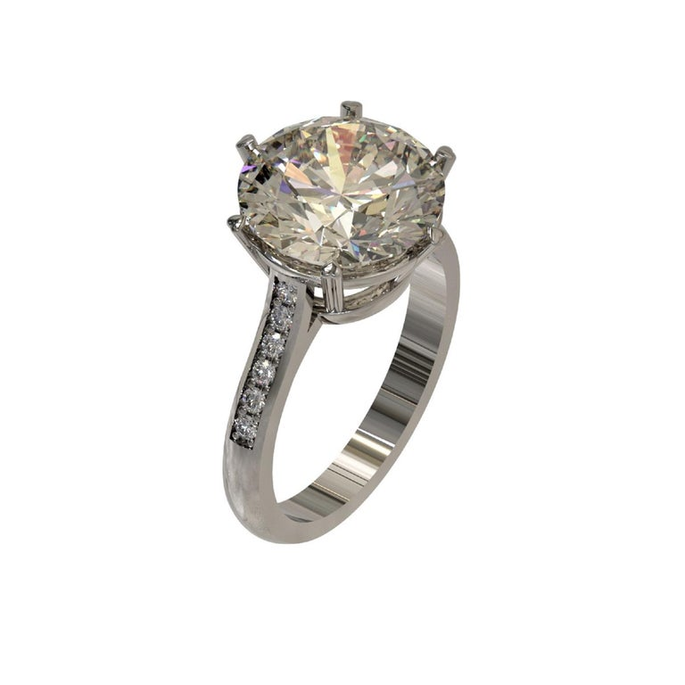 Art Nouveau Kian Design 6.01 Carat Round Brilliant Cut GIA Certified Diamond Platinum Ring For Sale
