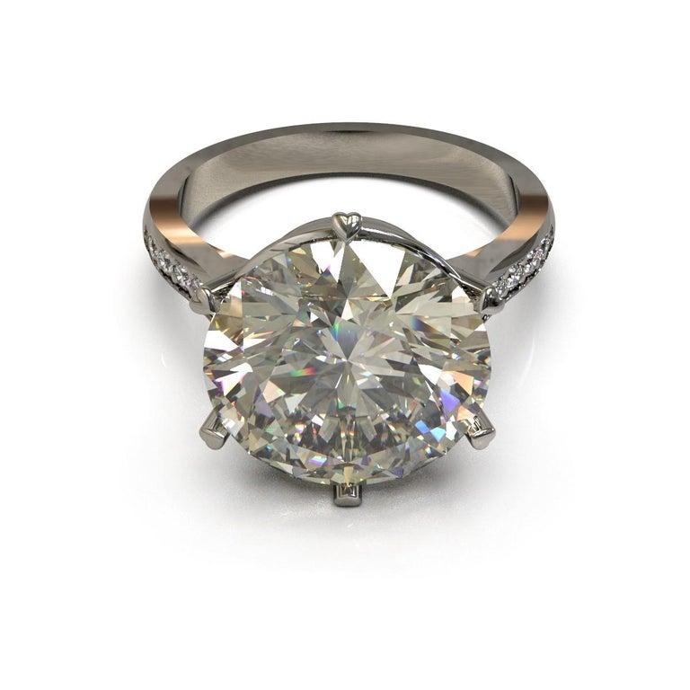 Round Cut Kian Design 6.01 Carat Round Brilliant Cut GIA Certified Diamond Platinum Ring For Sale