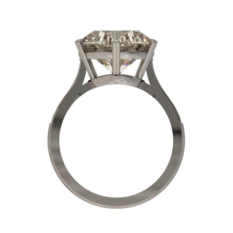 Women's Kian Design 6.01 Carat Round Brilliant Cut GIA Certified Diamond Platinum Ring For Sale