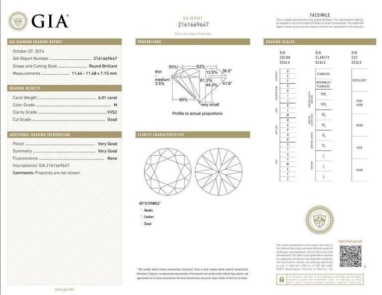 Kian Design 6.01 Carat Round Brilliant Cut GIA Certified Diamond Platinum Ring For Sale 2