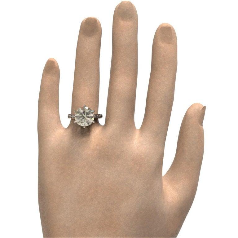 Kian Design 6.01 Carat Round Brilliant Cut GIA Certified Diamond Platinum Ring For Sale 3