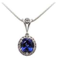 Kian Design 6.30 Carat Oval Tanzanite & Diamond Necklace in 18 Carat White Gold