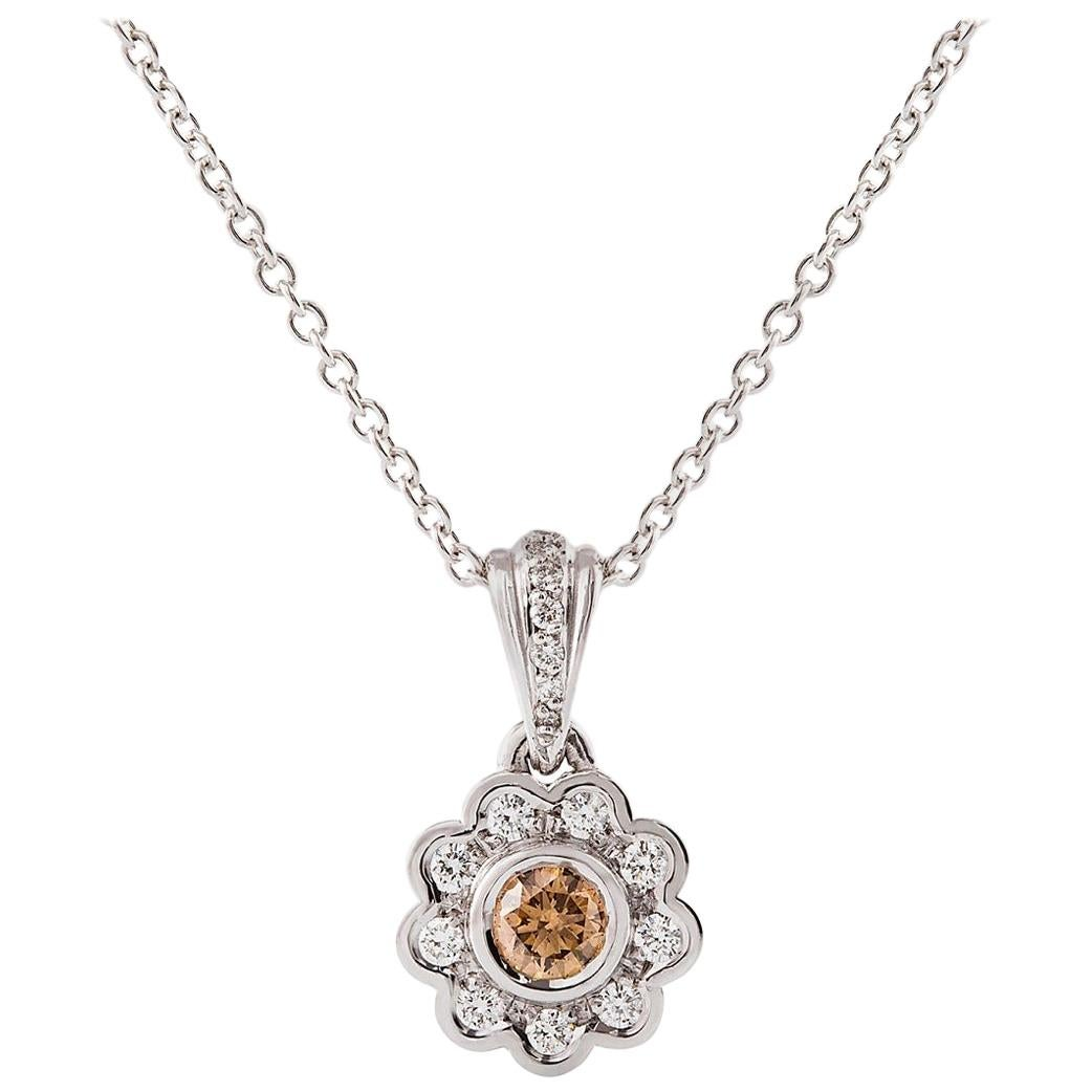 Kian Design Brown and White Round Diamond Pendant Necklace 18 Carat White Gold